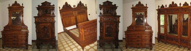 Importante camera da letto antica intagliata epoca fine 1800 inizio 1900 | Antiquariato su Anticoantico