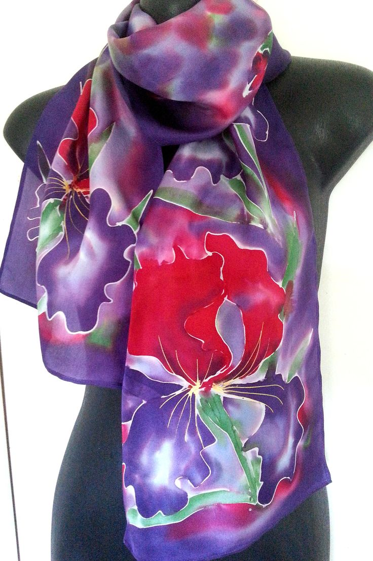 IRIS Flower RED Silk Scarf, New Zealand, Red and PURPLE Iris Silk Scarf, Hand painted, Floral scarf, Gift Card included, 28cm x 150cm Long by KiwiSilks on Etsy