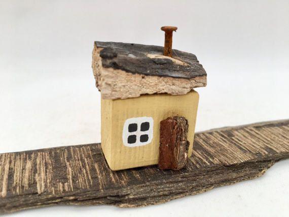 Little Yellow House Driftwood Art Miniature Wooden Cottage