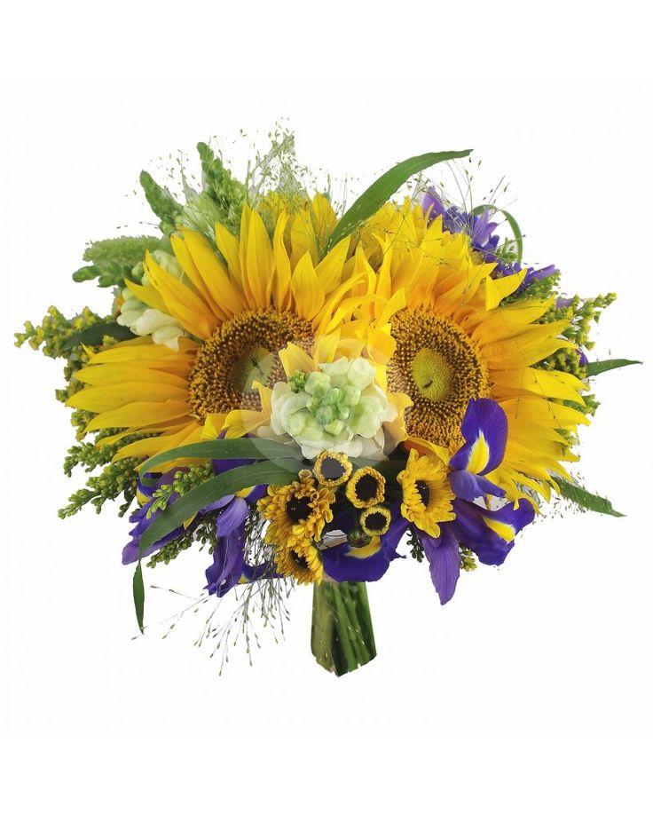 Buchet de mireasa cu iris si floarea soarelui