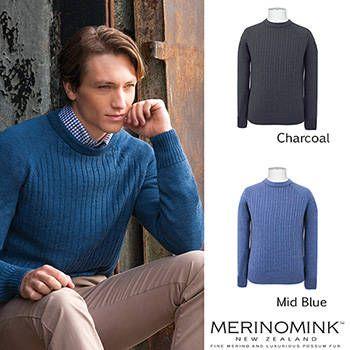 New Zealand Merinomink Mens Merino Wool Cable Sweater