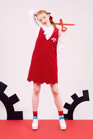 Scallop Shift Dress Red - THE WHITEPEPPER