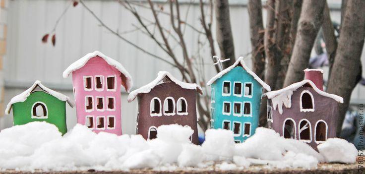 """Купить Надсвечник """"Домик"""" - бирюзовый, дом, домик, надсвесник, подсвечник, тепло, уют, Новый Год"""