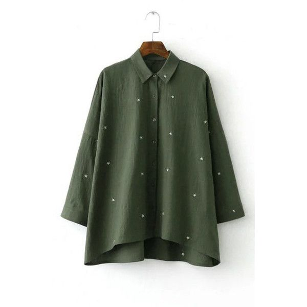 Yoins Long Sleeves Small Star Pattern Linen Shirt (98 RON) ❤ liked on Polyvore featuring tops, green, green top, button down top, star shirt, long sleeve shirts and green shirt