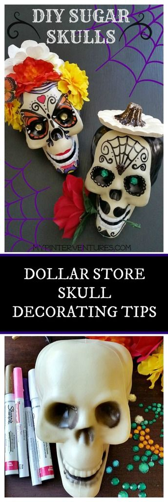 DIY Dollar Store Dead of the Dead Sugar Skull Tutorial and Tips. Dia De Los Muertos