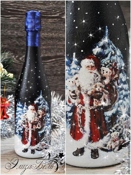 """Новый год 2016 ручной работы. Ярмарка Мастеров - ручная работа. Купить Новогоднее шампанское """"Дед Мороз в лесу"""". Handmade."""