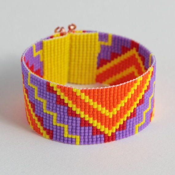 VENTA Tira de zig-zag tribales telar brazalete pulsera