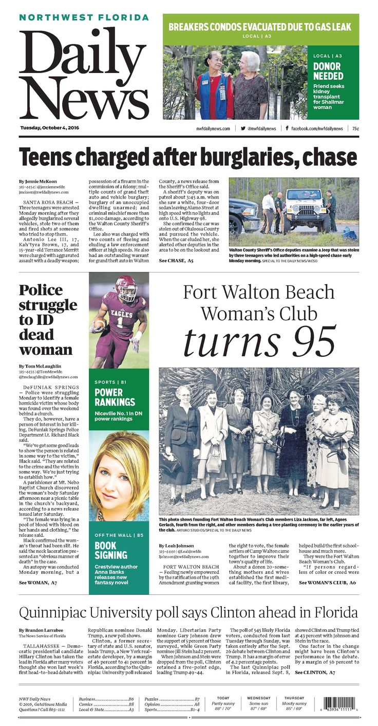 The Oct.4, 2016, front page of the Northwest Florida Daily News: Fort Walton Beach Woman's Club turns 95