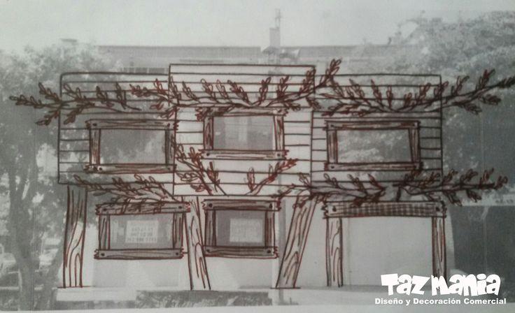 Boceto del Proyecto. La idea del proyecto fue recrear una gran casa en el árbol a la fachada exterior del Jardín infantil Summer Hill - Bucaramanga.  Dimensiones fachada exterior 15mts x 8mts, elementos decorativos fachada externa y decoración interna Arboles fue un diseño realizado y tallado en icopor de alta densidad, en proceso de cubrimiento duro y acabado acrílico, impermeabilizado para exteriores.