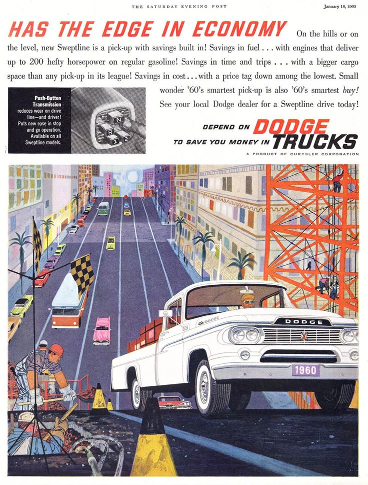 A 1960 Dodge trucks campaign. Click to see more illustrations! (not sure of artist?)