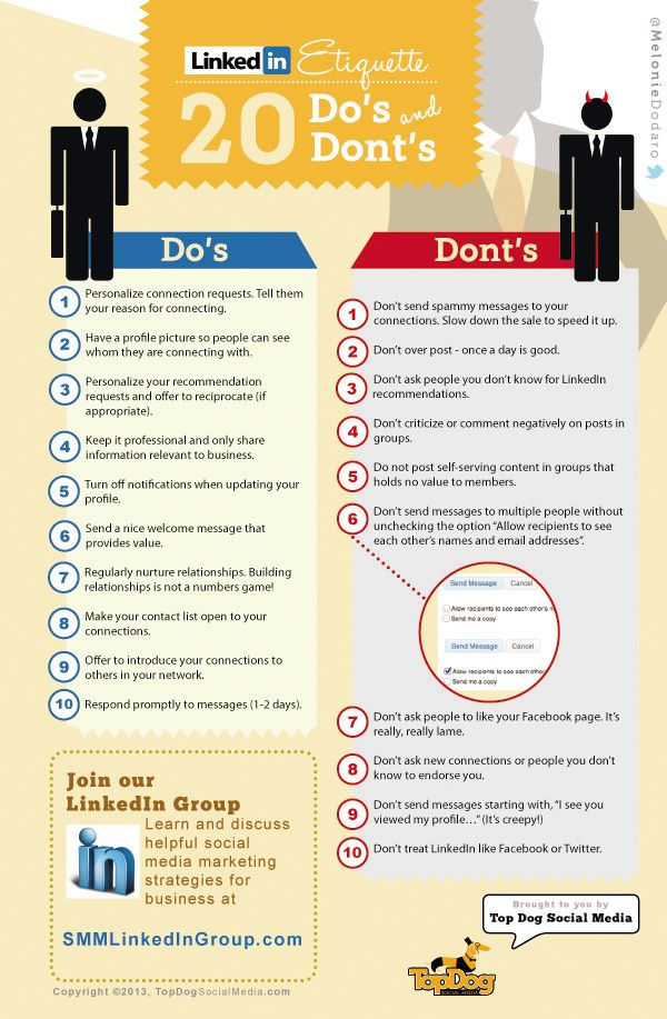 'Top 20 Do's and Dont's on LinkedIn' #LinkedIn #etiquette Top tips on this #infographic via @Melonie Dodaro Top Dog Social Media / Social Media London. http://socialmedialondon.co.uk/dos-and-dont-linkedin/