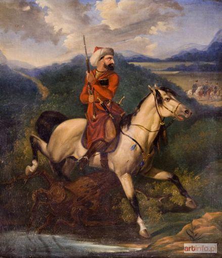 BRODOWSKI Józef (młodszy) | CZERKIES NA ZWIADACH OBSERWUJĄCY ŻOŁNIERZY ROSYJSKICH, 1847