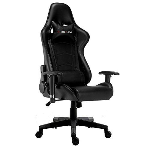 JL Comfurni Gaming Chair Chesterfield Ergonomic Swivel Office Chair High Back Heavy Duty Home Office Computer Desk Chair PU Leather Recliner Sport Racing Chair (Black)---81.99--- #ergonomicofficechair