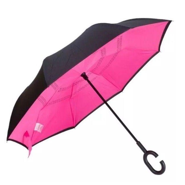 Guarda Chuva Invertido Abre E Fecha Ao Contrário modelo cor rosa