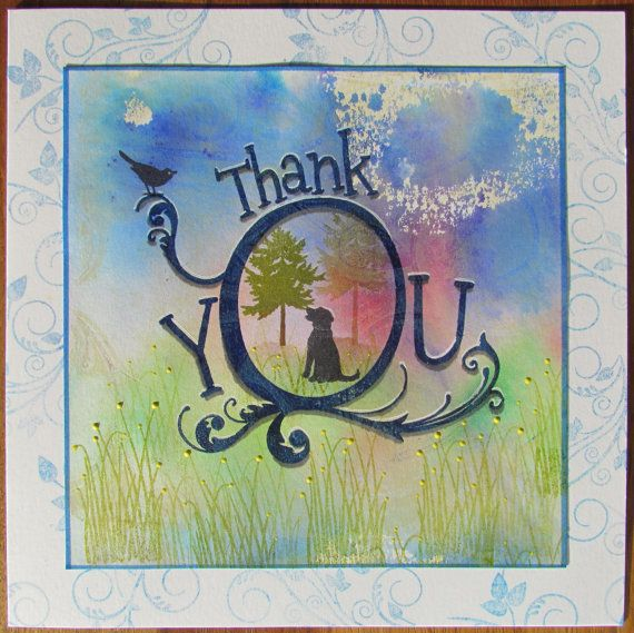 Arty Handmade Thank You card with cute country scene by CraftyMrsPanky - check this out on www.Etsy.com