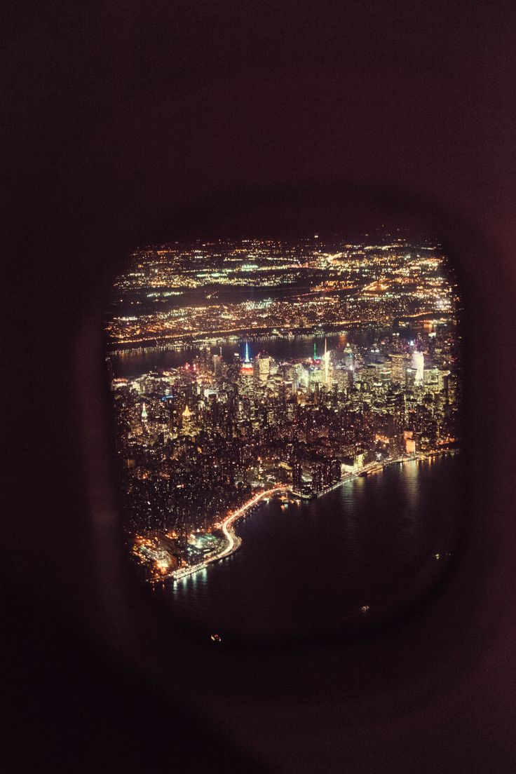 Window at night from inside - Flying Over Manhattan At Night By Bagnostian
