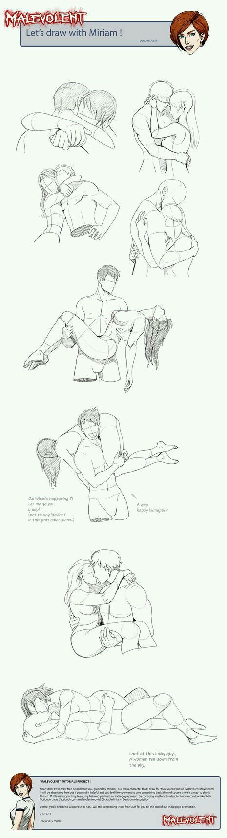 How to draw couple poses