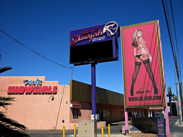 Deja Vu Showgirls Gentlemen's Club -- A Nightclub on Industrial Road behind Trump Tower on the North Vegas Strip. If you're staying at Trump Tower and you get bored late at night in a Las Vegas hotel without a casino, maybe you should stroll on acros Hotels Shows and Clubs in Las Vegas