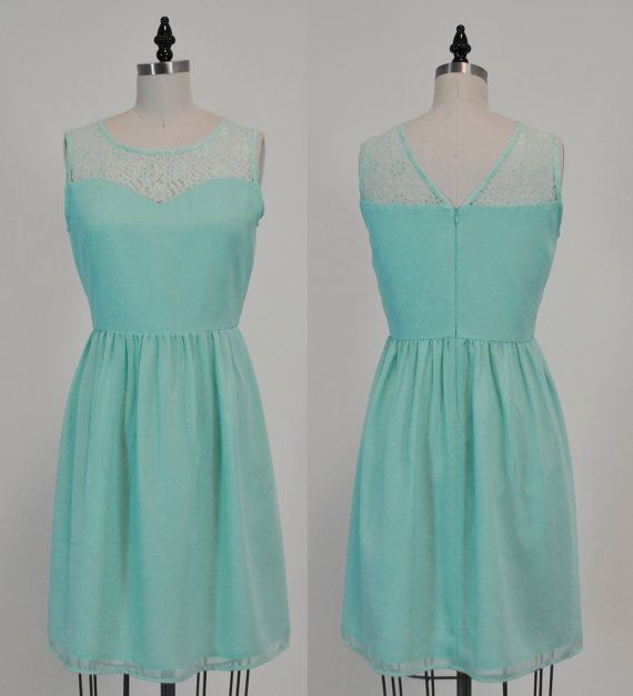 LORRAINE (Mint) : Mint chiffon dress, lace sweetheart neckline, vintage inspired, party, day, bridesmaid