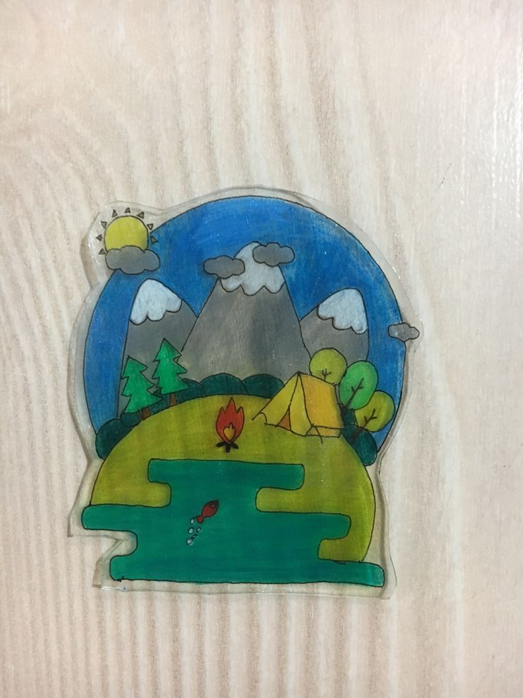DIY camp magnet with shrinking paper