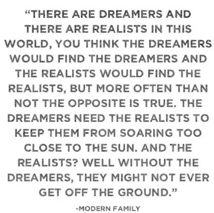 Fun Friday Finds: Inspirational quote about dreamers and realists
