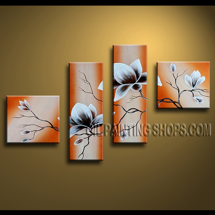 Huge Contemporary Wall Art Oil Painting On Canvas Panels Gallery Stretched Tulip Flowers. This 4 panels canvas wall art is hand painted by Anmi.Z, instock - $128. To see more, visit OilPaintingShops.com