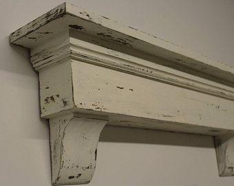 Distressed Shabby Wall Shelf Floating Mantel Fireplace Housewarming Gift