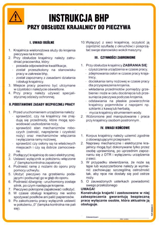 Instrukcja BHP przy obsłudze krajalnicy do pieczywa - Sklep PPOŻ