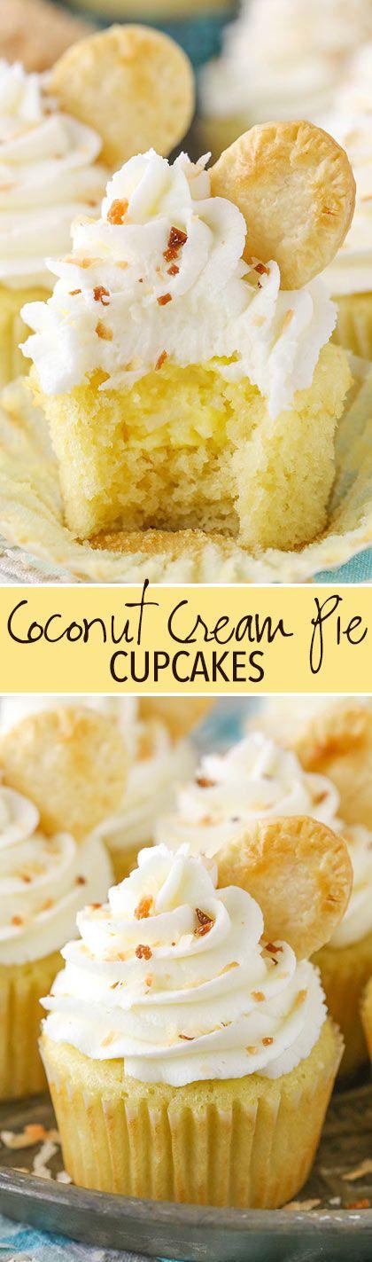 Coconut Cream Pie Cupcakes -  coconut cupcakes with a cream pie filling! FULL of coconut flavor!