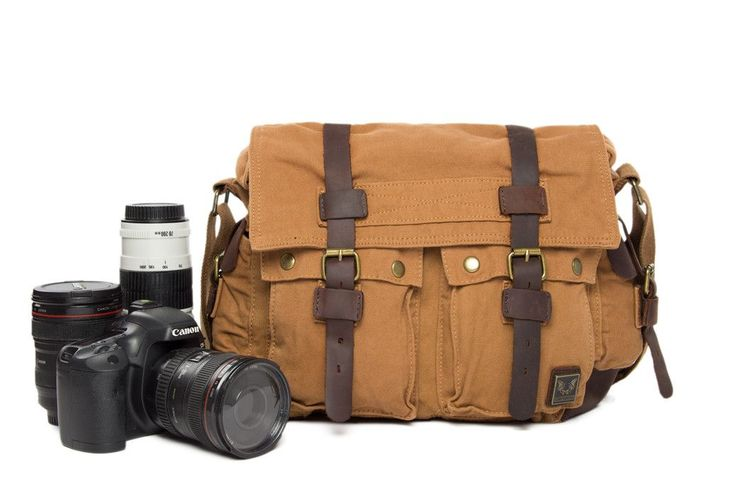Canvas DSLR Camera Bag for Canon EOS Nikon Sony Olympus, Cross Body Messenger Camera Bag 2138L