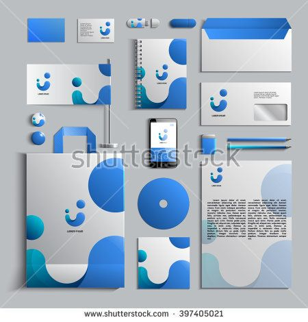 Corporate identity template in blue colors. Vector company style for brandbook and guideline. EPS 10