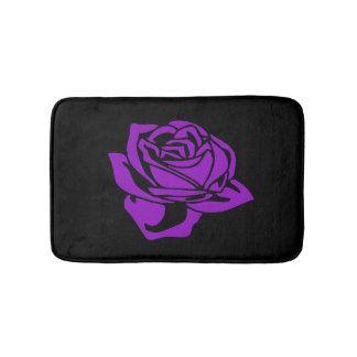 Purple Rose and Black Bath Mat