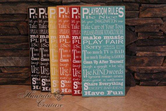 Adorable Rustic Typography Playroom Rules Wall by hautalacouture, $45.00Playrooms Ideas, Wall Art, Rules Wall, Typography Playrooms, Playrooms Rules, Adorable Rustic, Rustic Typography, Plays Room, Room Rules