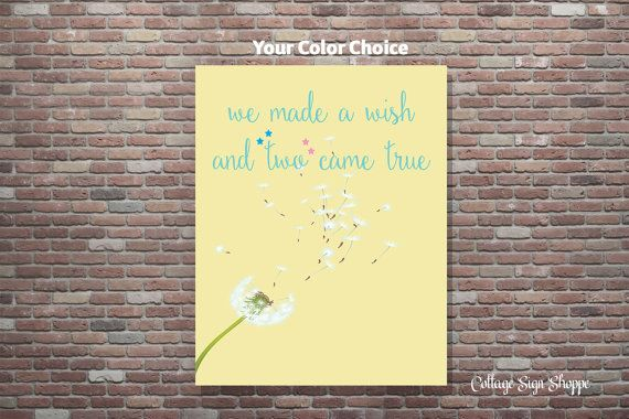 we made a wish and two came true, Twins, Nursery Decor, You Pick Color, DOWNLOAD PRINTABLE, Twin Girl and Boy, Twin Girls Nursery, Twin Boys
