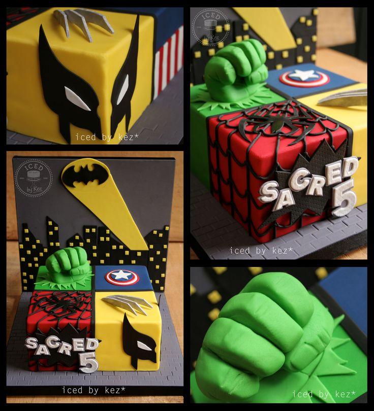 Marvel/DC Cake 5th Birthday. Batman, Wolverine, Spiderman, Hulk & Captain America :) kez* x