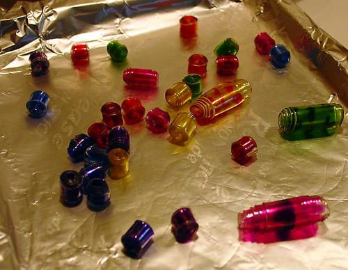 Beads made from plastic soda bottles! Made with pliers and a hair dryer!!!!