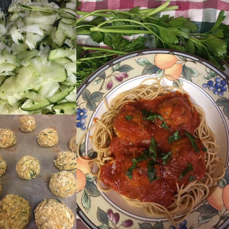 """spaghetti and zucchini """"meatballs"""" - my favorite high protein meal!!! It's incredible (and you can freeze them for when you're lazy a couple weeks down the road too)"""