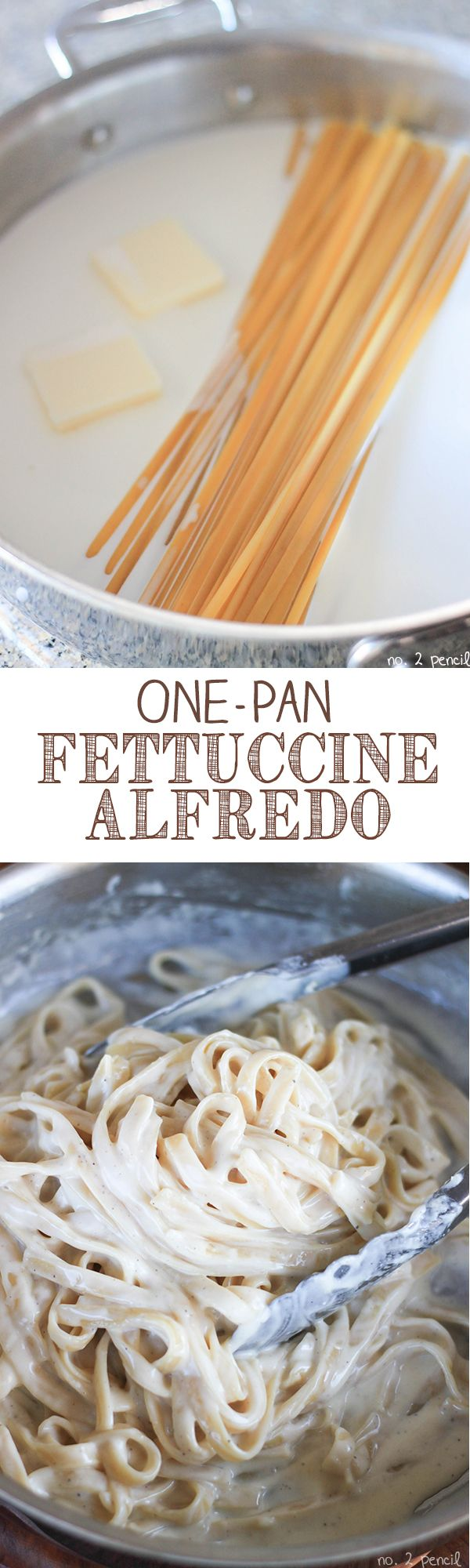 Easy One Pan Fettuccine Alfredo - even the pasta cooks in the same pan! This is super easy!! Makes just enough to feed 4-5 people. Delicious too.