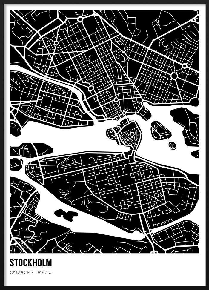 Black and white poster of the Stockholm city map #blackandwhite #modern #scandinavian #interior #geometric #stockholm #map #illustration #poster