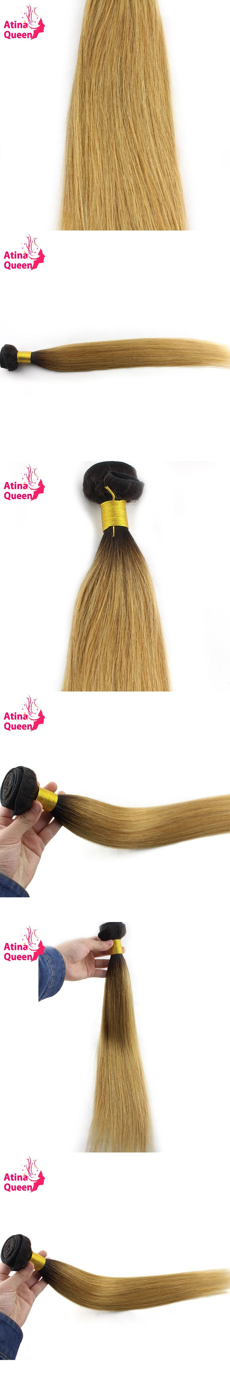 Atina Queen 1B27 Straight Brazilian Hair Weave Bundles Two Tone Dark Roots Honey Blonde Ombre Human Hair Extensions Non Remy 1pc
