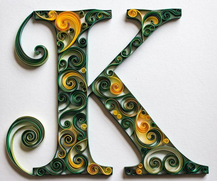 Quilled Letter K Monogram - Green Swirls #quilledmonogram #mainelyquilling
