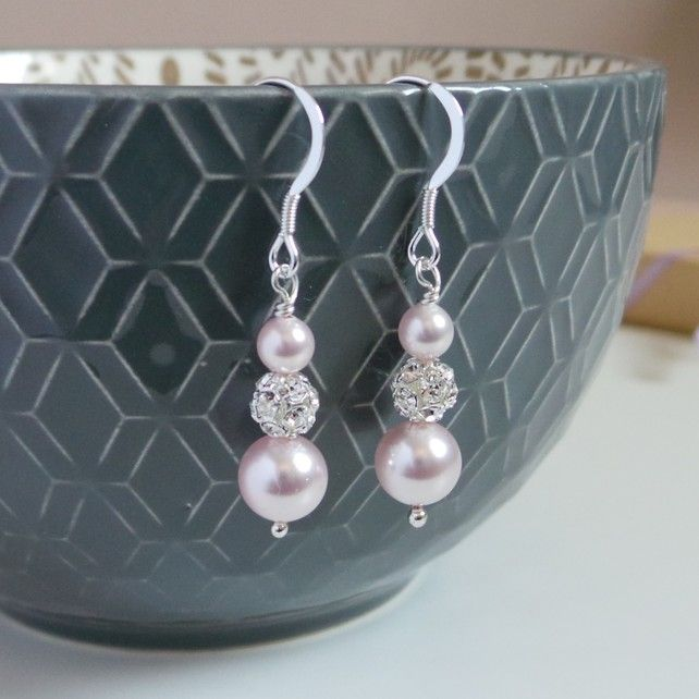 Ella Blush Pink Earrings - Pale Pink Pearl Silver Earrings £29.00