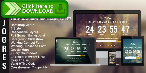 [ThemeForest]Free nulled download Calm - Responsive Under Construction Theme from http://zippyfile.download/f.php?id=5470 Tags: background, bootstrap, coming soon, countdown, css, dark, fullscreen, html, java script, jquery, light, minimal, responsive, social media, under constructor