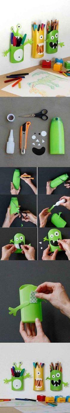DIY Tooth brush holder made of shampoo bottles /// Zahnbürstenhalter zum Selbstmachen aus leeren Shampooflaschen