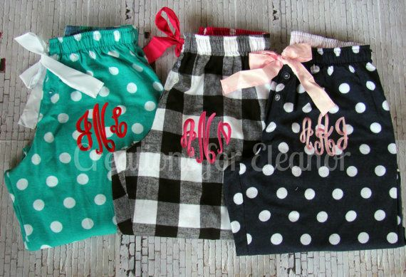Monogrammed Pajama Pants by creationsforeleanor on Etsy, $30.00