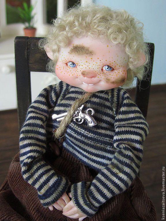 """Купить """"Ёпсель-Мопсель"""" - авторская кукла, коллекционная кукла, куклы ксении зайцевой, пацан, мальчишка"""