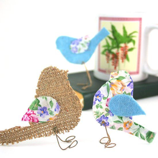Make these whimsical little birds from stiffened cloth or colorful paper.  Perch them all around your home!