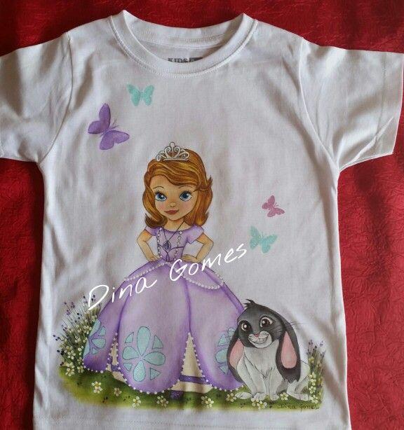 Camiseta princesa sofia pintura em tecido pinterest - Pintura para camisetas ...