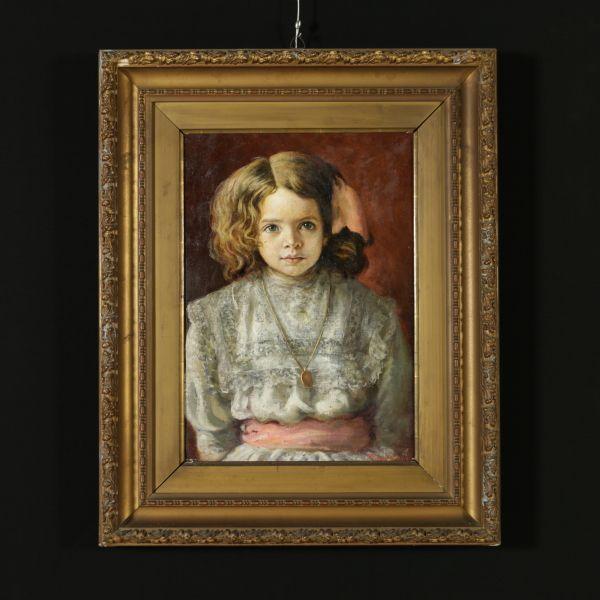 Ritratto di bambina. Olio su tela. Firmato e datato 1910 in basso a destra. In cornice coeva.