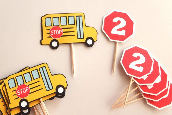 12 Cupcake toppers match my School Bus Birthday Banner for your Wheels on the Bus party! Set includes: 6 - School Buses 2 x 3 6 - Stop Signs